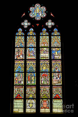 Photograph - Stained Glass Window In Medieval Catholic Church by Patricia Hofmeester