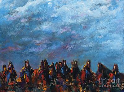Horse Herd Painting - Stampede by Frances Marino