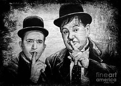 Hardy Drawing - Stan And Ollie by Andrew Read