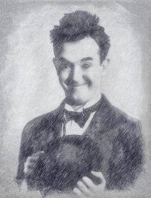 Musicians Drawings Rights Managed Images - Stan Laurel Royalty-Free Image by John Springfield
