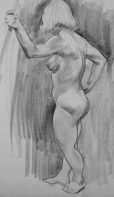 Drawing - Standing Female Nude Model With Posing Pole by Robert Holden