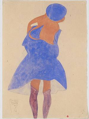 Standing Girl Back View Original by Egon Schiele