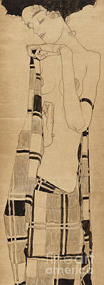 Sisters Drawing - Standing Girl by Egon Schiele