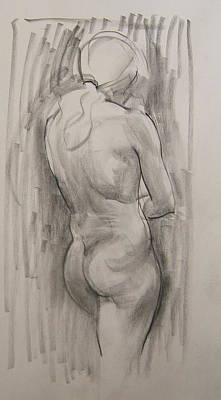 Drawing - Standing Nude, Back View by Robert Holden