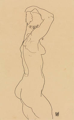 Schiele Drawing - Standing Nude, Facing Right by Egon Schiele