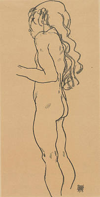 Drawing - Standing Nude Girl, Facing Left by Egon Schiele
