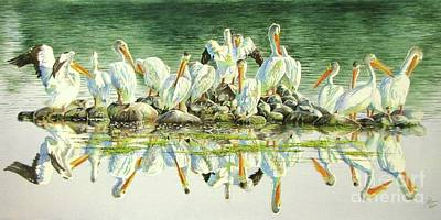 Shorebird Painting - Standing Room Only by Greg and Linda Halom