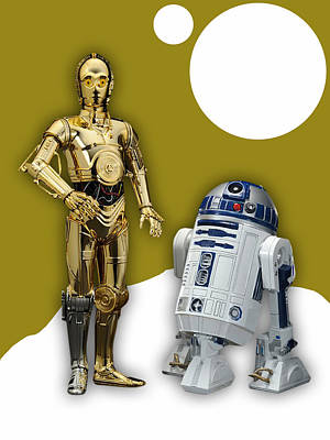 Movie Art Mixed Media - Star Wars C-3po And R2-d2 by Marvin Blaine