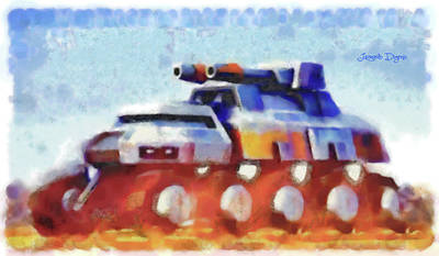 Wheel Painting - Star Wars Rebel Army Armor Vehicle - Watercolor by Leonardo Digenio