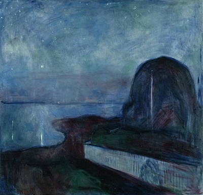 After Munch Painting - Starry Night by Edvard Munch