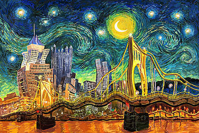 Digital Art - Starry Night In Pittsburgh by Frank Harris