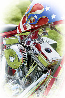 Twin Tailed Photograph - Stars And Stripes Harley by Tim Gainey