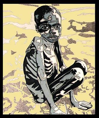 Starving African Boy Art Print by Gabe Art Inc