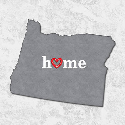 Oregon State Painting - State Map Outline Oregon With Heart In Home by Elaine Plesser