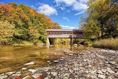 Stones Photograph - State Road Covered Bridge by Marcia Colelli