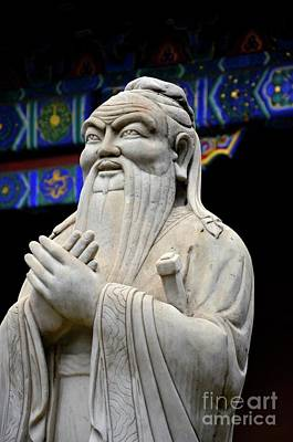 Teaching Virtues Photograph - Statue Of Chinese Philosopher Confucius Beijing China by Imran Ahmed