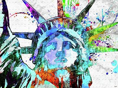 Statue Of Liberty Mixed Media - Statue Of Liberty Grunge by Daniel Janda