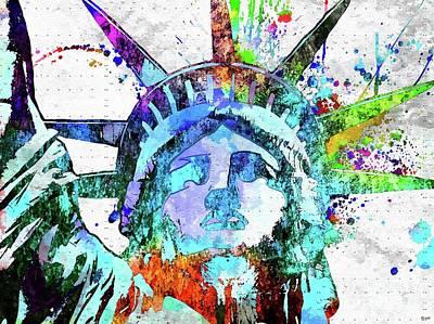Statue Of Liberty Grunge Art Print