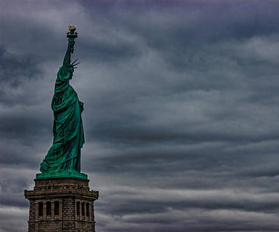 Grey Clouds Photograph - Statue Of Liberty by Martin Newman
