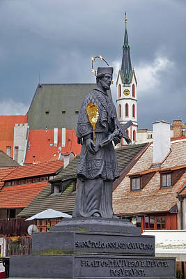 Photograph - Statue Of Saint John Of Nepomuk On Lazebnicky Bridge At Cesky Krumlov In The Czech Republic by Richard Rosenshein
