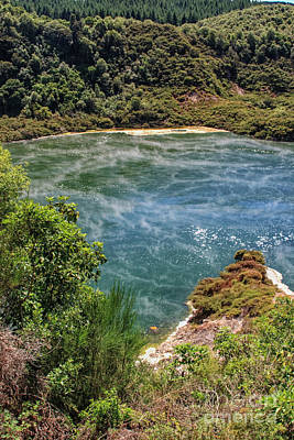 Photograph - Steam At A Lake In Waimangu by Patricia Hofmeester