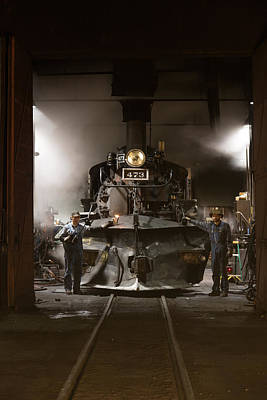 Photograph - Steam Locomotive In The Roundhouse Of The Durango And Silverton Narrow Gauge Railroad In Durango by Carol M Highsmith