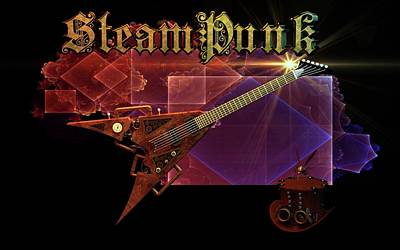 Digital Art - Steampunk Guitar by Louis Ferreira