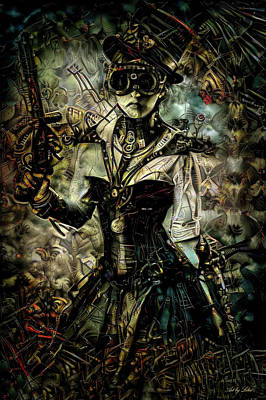 Mixed Media - Steampunk Lady by Lilia D