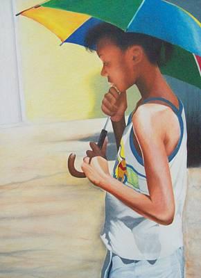 Stephanie With Umbrella Art Print by Sylvester Hickmon
