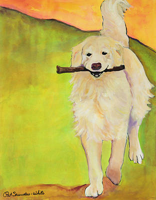 Acrylic Dog Painting - Stick Together by Pat Saunders-White