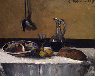 Glass Of Wine Painting - Still Life by Camille Pissarro