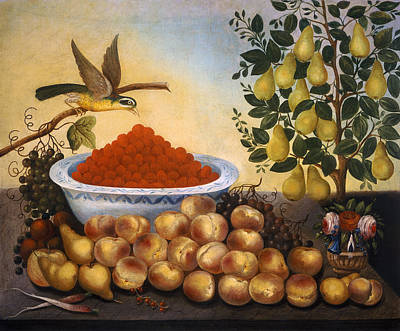 Painting - Still Life Fruit Bird And Dwarf Pear Tree by Charles V Bond