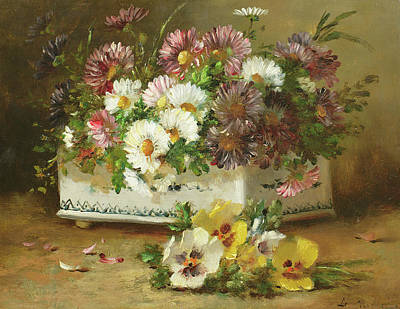 Pansy Painting - Still Life Of Flowers by Eugene Henri Cauchois