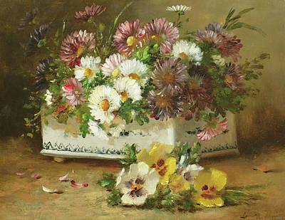 Chrysanthemum Wall Art - Painting - Still Life Of Flowers by Eugene Henri Cauchois