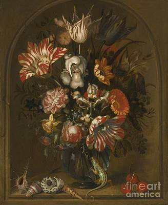 Flower Painting - Still Life Of Flowers In A Glass Vase Within A Niche by MotionAge Designs