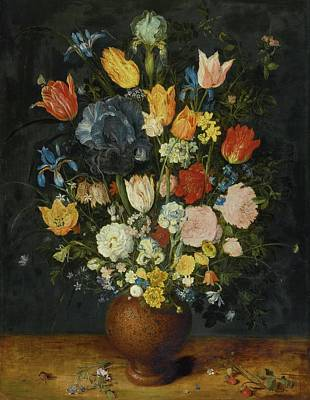 Stoneware Painting -  Still Life Of Flowers In A Stoneware Vase by Jan Brueghel