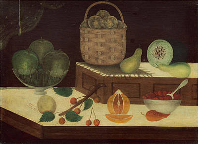 Landmarks Painting Royalty Free Images - Still Life Of Fruit Royalty-Free Image by American 19th Century