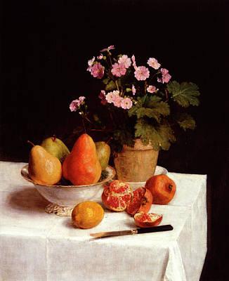 Pear Blossoms Wall Art - Painting - Still Life, Primroses, Pears And Promenates by Henri Fantin-Latour