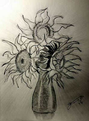 Still Life Drawings - Still Life - Vase with 3 Sunflowers by Jose A Gonzalez Jr