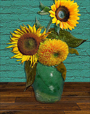 Still Life Drawings - Still Life - Vase with Three Sunflowers by Jose A Gonzalez Jr