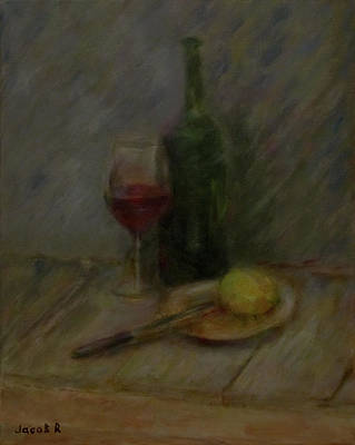 Still Life With Old Brown Bottle Painting - Still Life With A Bottle Of Wine by Jacob R