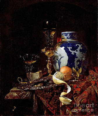 Persian Carpet Painting - Still Life With A Chinese Porcelain Jar by Willem Kalf