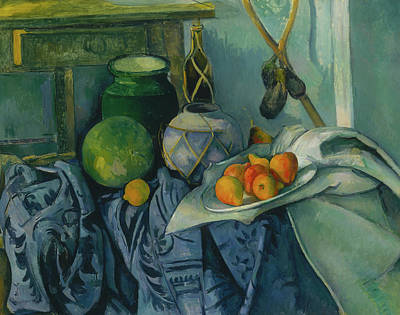 Interior Still Life Painting - Still Life With A Ginger Jar And Eggplants by Paul Cezanne