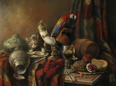Parrot Painting - Still-life With A Lobster by Tigran Ghulyan