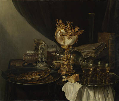 Still Life With A Nautilus Cup Art Print by Gerrit Willemsz Heda