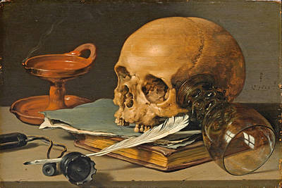Still Life With A Skull And A Writing Quill Painting - Still Life With A Skull And A Writing Quill by Pieter Claesz