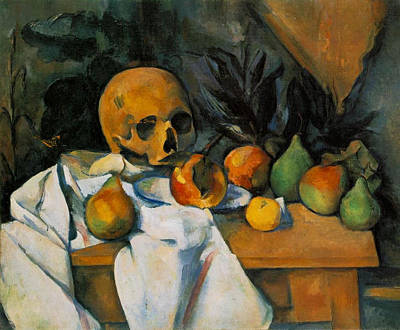 Pear Painting - Still Life With A Skull by Paul Cezanne