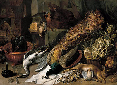 Frans Snyders Painting - Still Life With A Wine Cooler by Frans Snyders