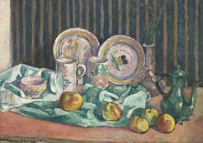 Still Life With Pitcher Painting - Still Life With Apples And Fruit Bowls by Emile Bernard