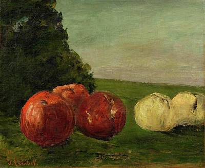 Still Life With Green Apples Painting - Still Life With Apples by Courbet